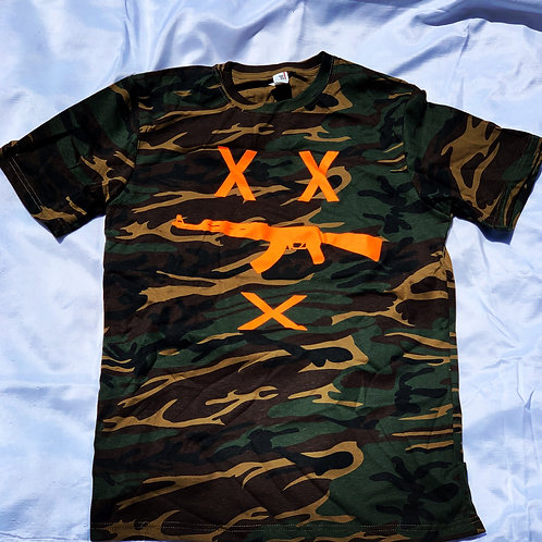 #FreeZilla Camo Tee Hunter Orange Logo