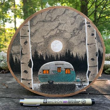 Vintage Shasta Under Moon