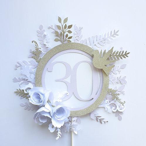 3D Glitter Custom Boho Cake Topper - Lavender