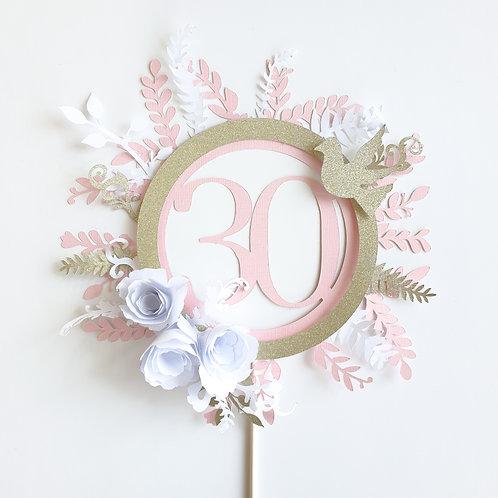 3D Glitter Custom Boho Cake Topper - Pink