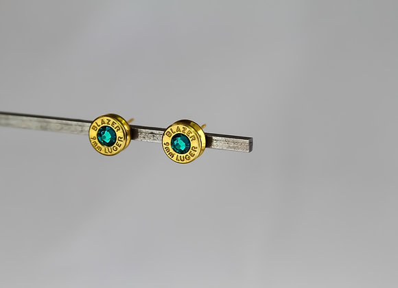 Brass Blue Zircon Studs