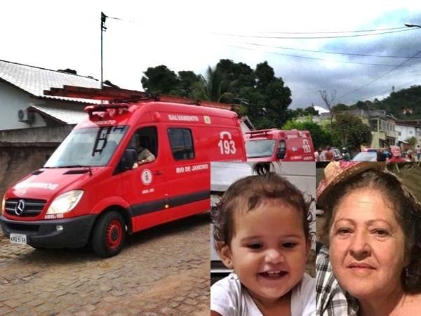 Sirlene Monteiro (67) morreu no local e sua neta, Maria Eduarda (2), faleceu no hospital (Foto: Blog do Adilson Ribeiro)