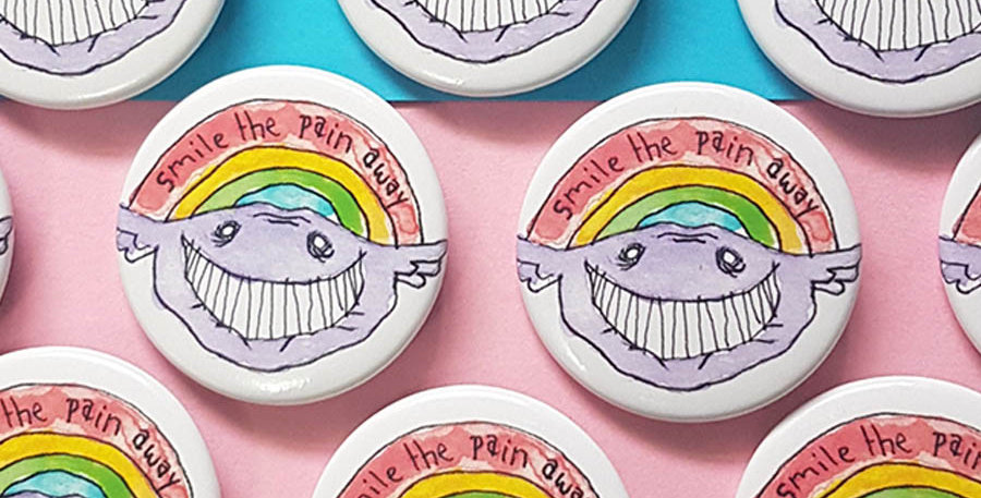 """Smile the pain away button 1-3/4"""""""