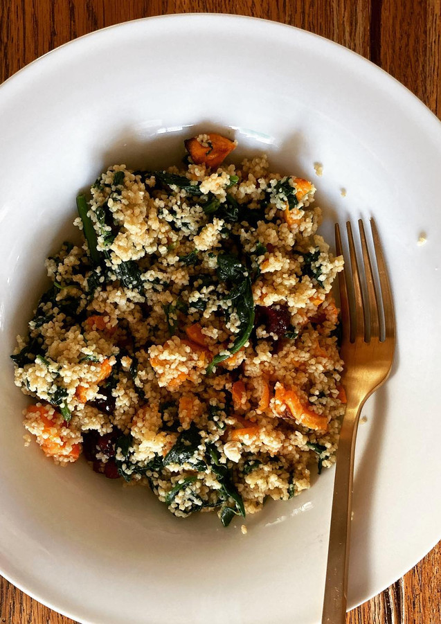 couscous with spinach, sweet potatoes and cranberries