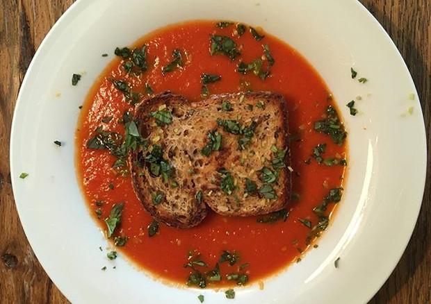 tomatosoup with basil and lemon zest