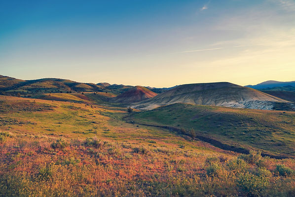 The Painted Hills in Eastern Oregon at sunrise