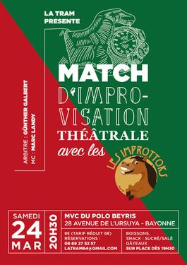 affiche du match d'impro du 24 mars avec les improttoks