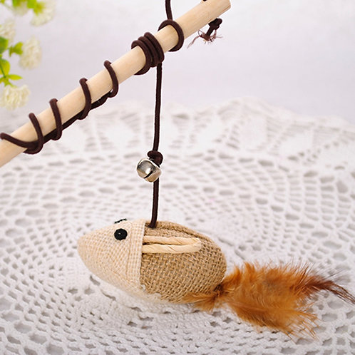 Cat Toy wooden pole mice