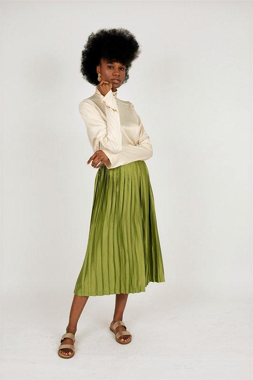 Ourea Silk Pleated Midi Skirt