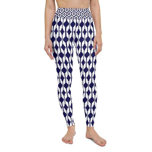 Blue & Coral Ikat Print Leggings