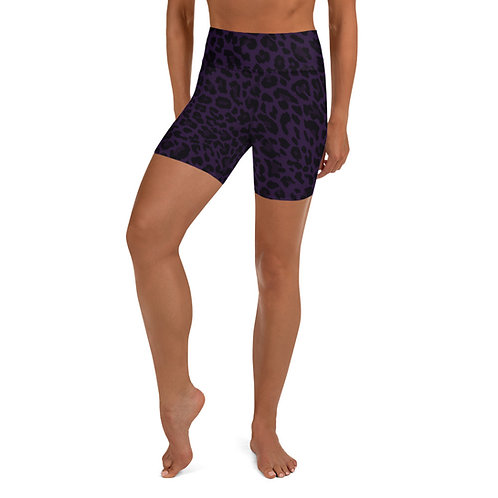 Purple Cheetah Print High Waist Bike Shorts