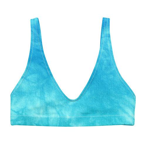 Blue & Green Tie Dye Eco Friendly Bikini Top w/ Removable Padding