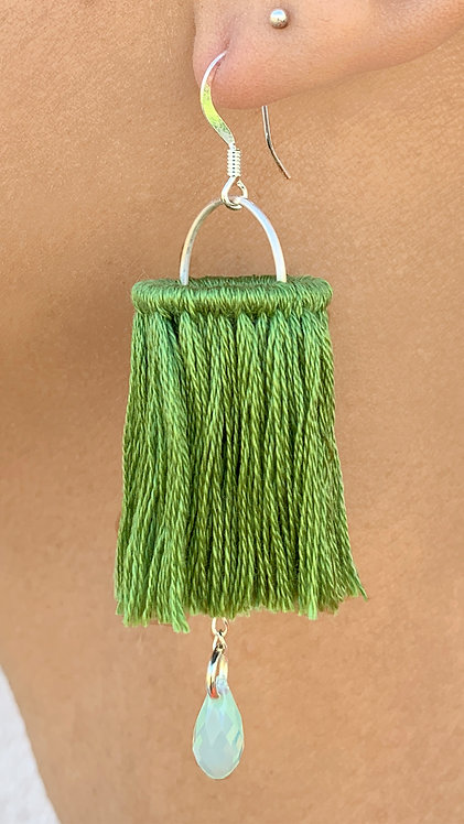 Leila Green Tassel Statement Earrings