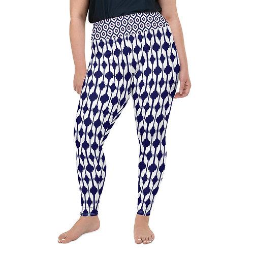 Blue & Coral Ikat Print Plus Size Leggings
