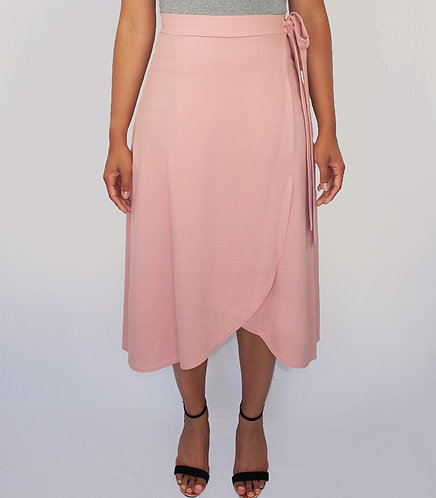 Ashley Pink Faux Wrap Midi Skirt