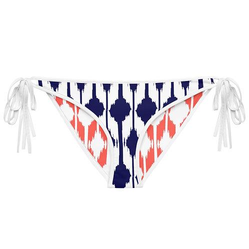 Blue & Coral Ikat Print Reversible Bikini Bottom