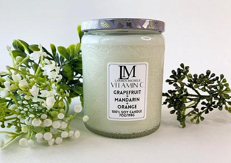 Vitamin C Glass Jar Wood Wick 7oz Soy Candle