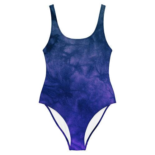 Blue & Purple Tie Dye One-Piece Swimsuit