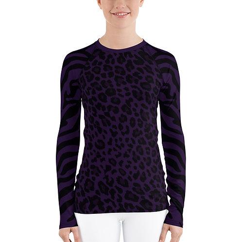 Purple Cheetah & Zebra Print Women's Rash Guard