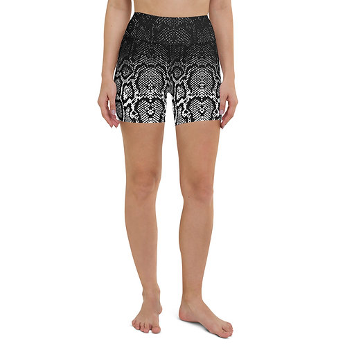 Ombre Snakeskin Print High Waist Bike Shorts