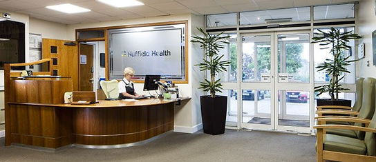 Reception Desk at Plymouth Nuffield Hospital