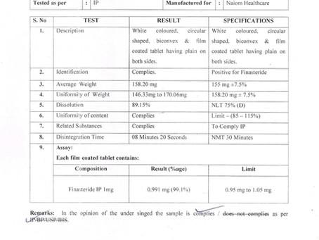 피나스테리드 성분 분석표
