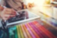 Website designer working digital tablet