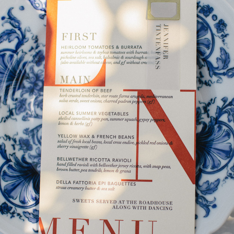 Letterpress Menus with Place Cards affixed with Brass Bookmark