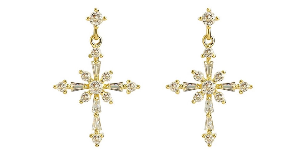 S925 Cross Earrings