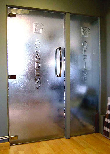 Academy Glass swing door signage