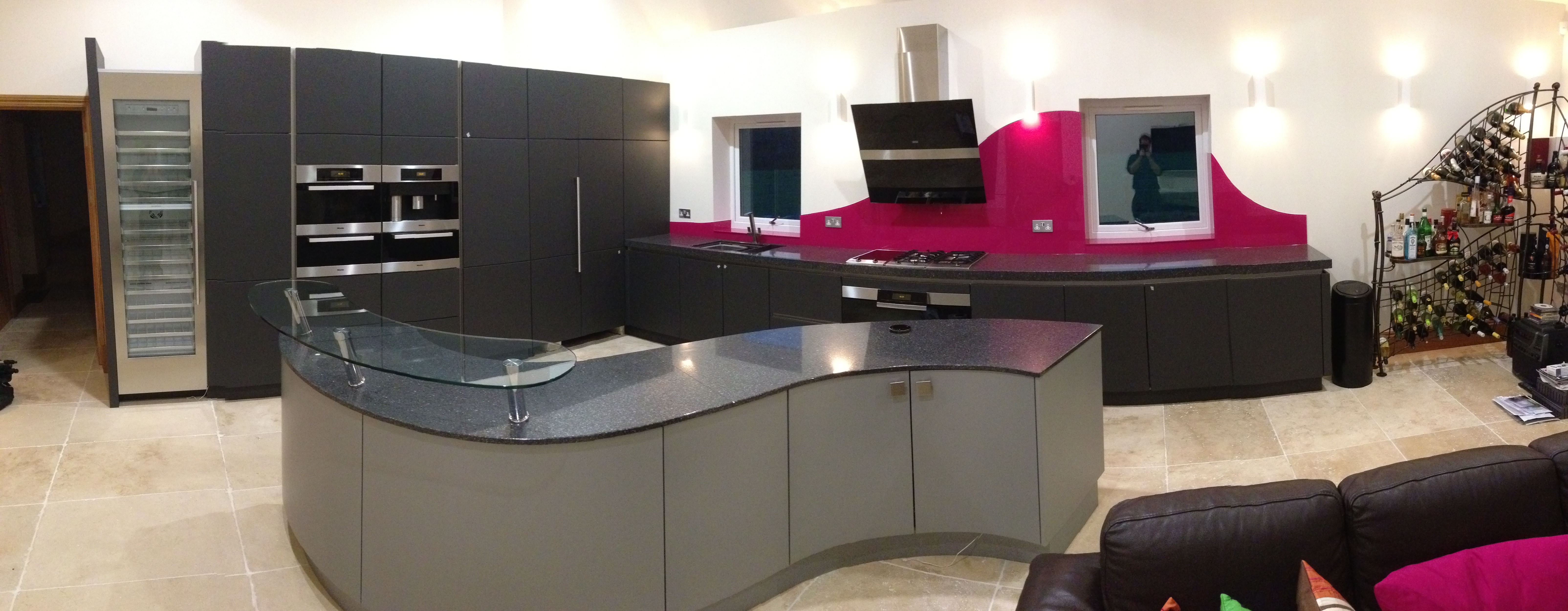 kitchen purple splashback
