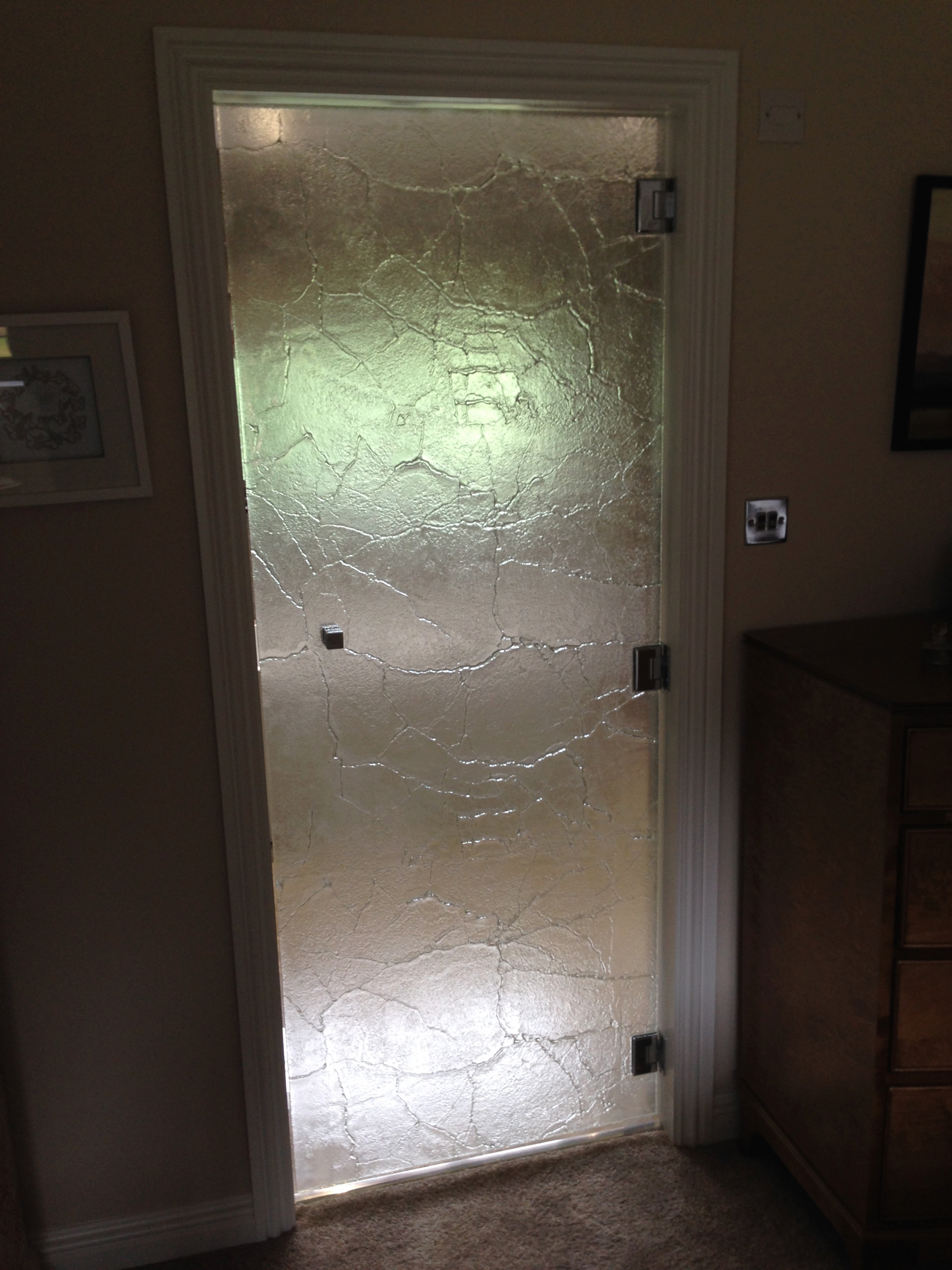Textured glass door