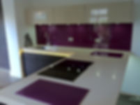 Purple untextured kitchen & surfaces