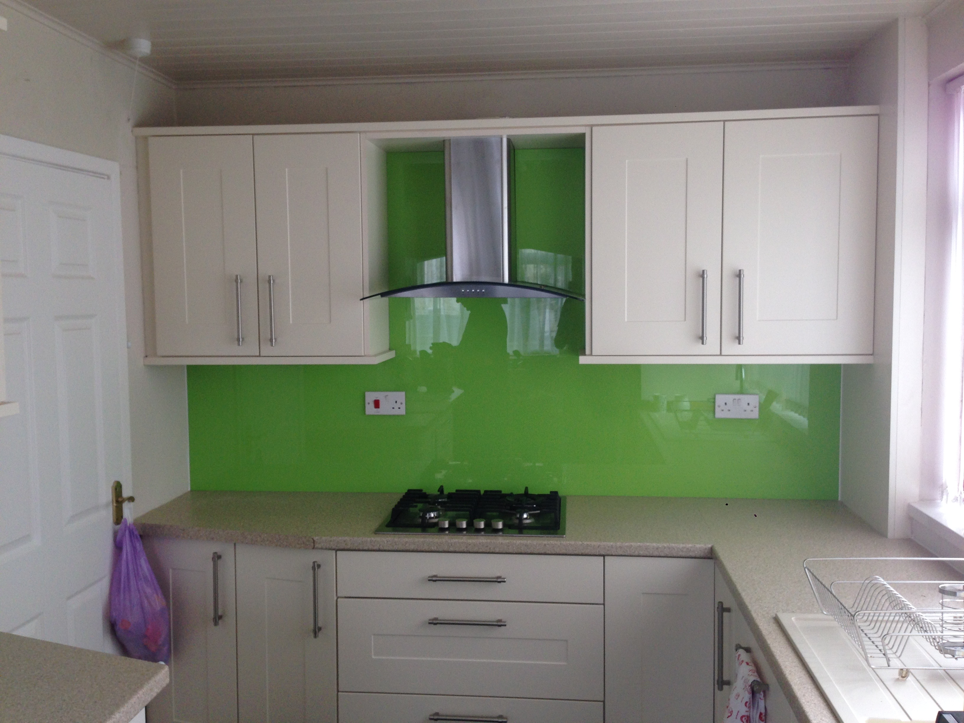 lime green untextured white kitchen