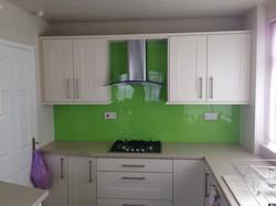 lime green untextured white kitchen