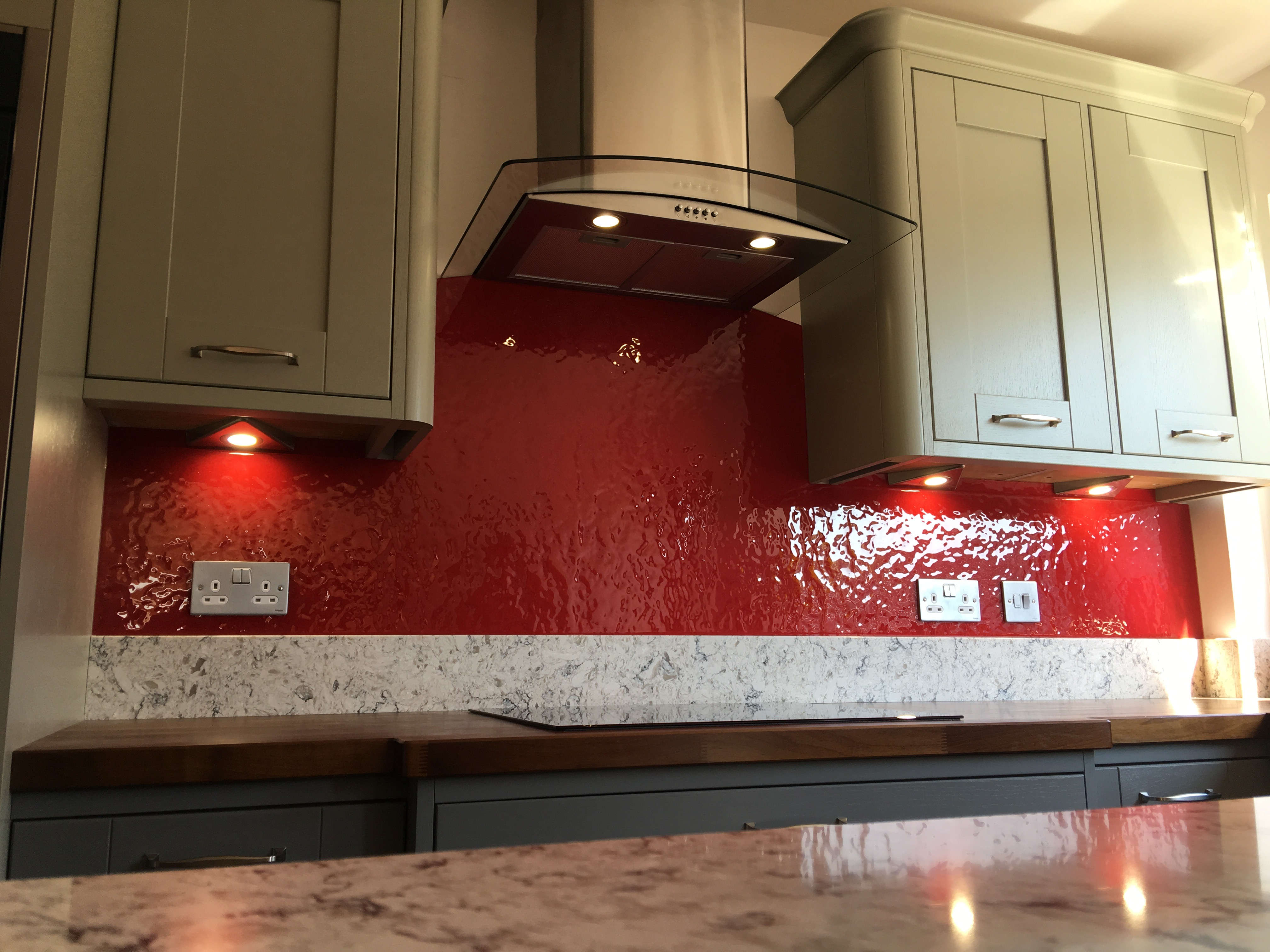 crimson textured splashback white kitche