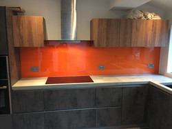 orange untextured splashback
