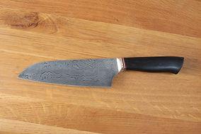 Kochmesser aus Damast mit Griff aus Eben