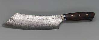 Damastmesser - Hackmesser aus Damaststahl sonderanfertigung in Handarbeit hergestellt - Exklusive Ausführung von Damastkochmesser