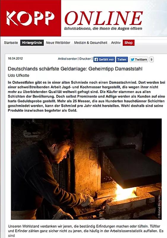 Damastmesser als deutschlands schärfste Geldanlage - Artikel über Jagdmesser als eine Möglichkeit der Geldanlage