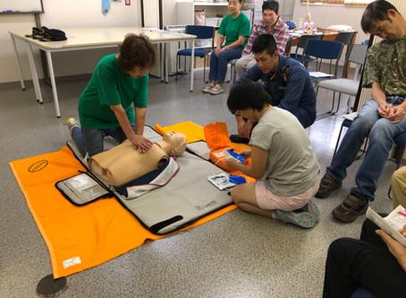 AED訓練を柚木分署の皆さんに教わりました