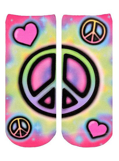 Tye Dye Airbrush Peace Sign Living Royal Ankle Socks