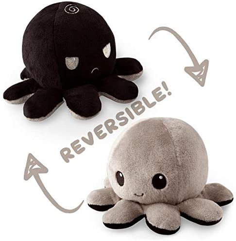 Tee Turtle Reversible Octopus Plush - Grey/Black