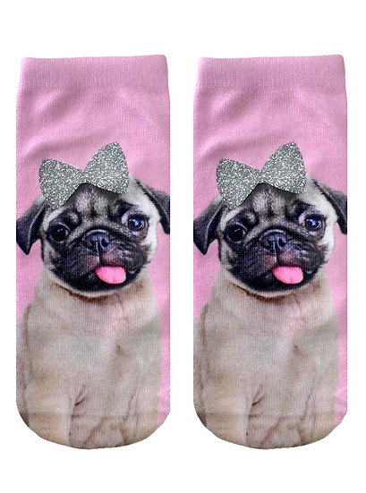 Pug With Glitter Bow Living Royal Ankle Socks