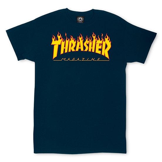 Thrasher Flame Logo Tshirt Navy