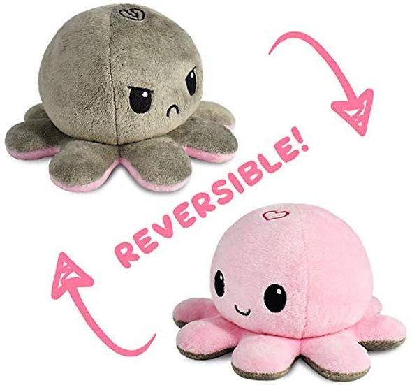 Tee Turtle Reversible Octopus Plush - Pink/Grey