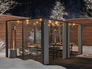 Warm restaurant patio