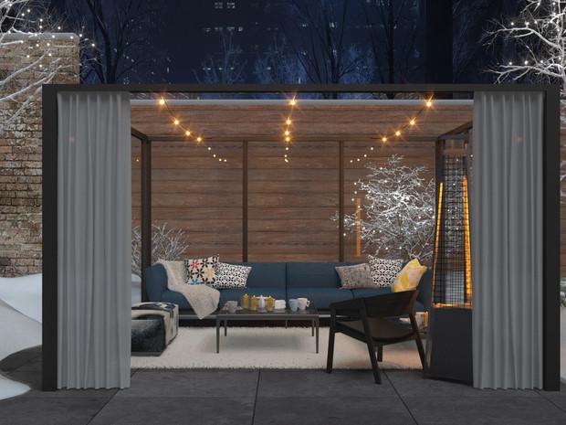 Winter patio glass enclosure