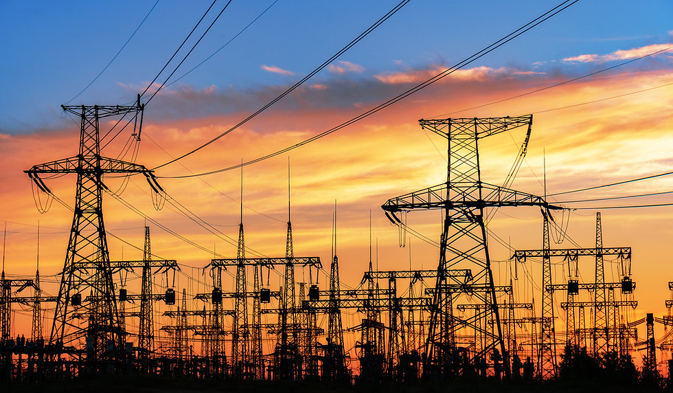 High-voltage  power lines. Electricity d
