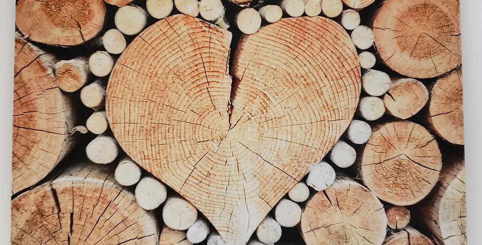 """Wooden Heart Mouse Pad 7.75"""" x 9.25"""" x 1/4"""" Thick"""